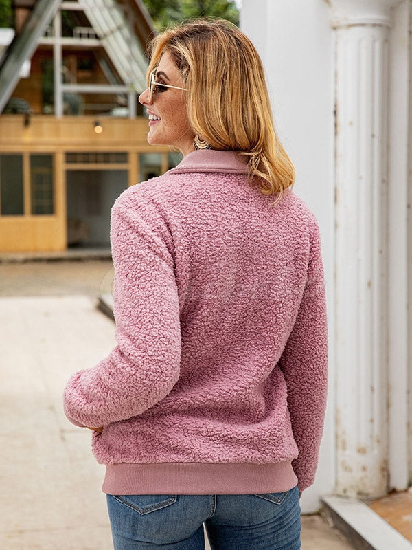 Plain Threaded Double-Breasted Sweater