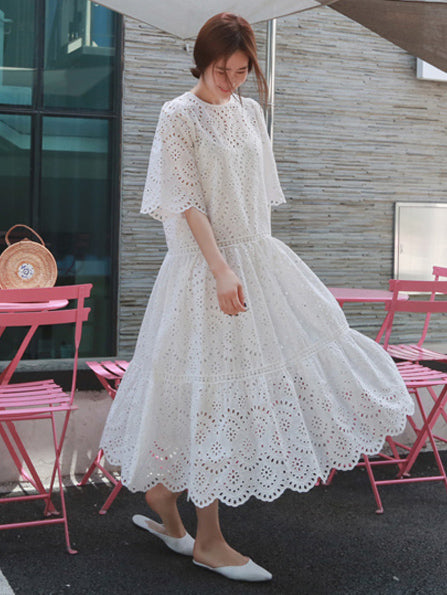 Loose Ramie Cotton Hollow Midi Dresses