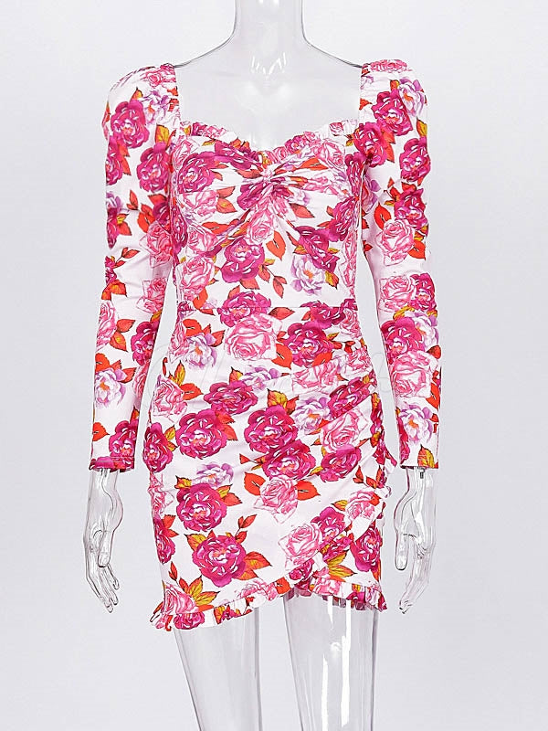 Floral Pleated Square-Collar Irregular Mini Dress