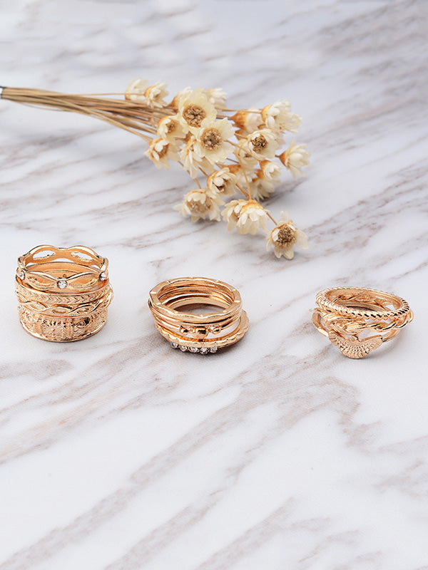 12pcs Vintage Carving Rings Accessories