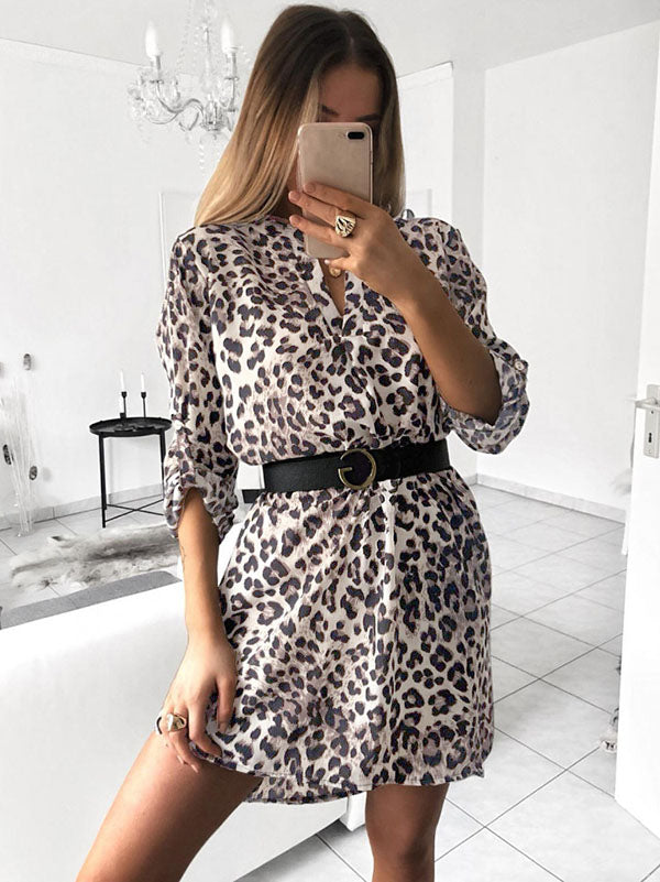 V-neck Long Sleeves Printed Shirt Mini Dresses