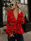 Deep V-neck Printed Blouses&Shirts Top