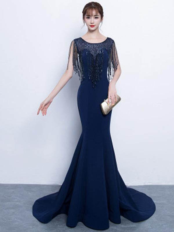 Beads-tasseled Mermaid Evening Dress