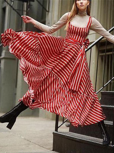 Fashion Striped Printed Maxi Dress
