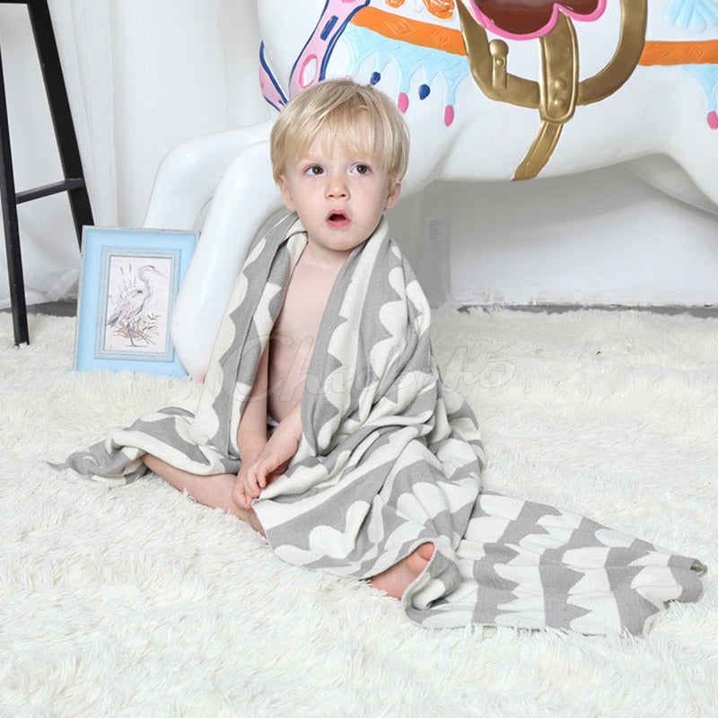 Baby Printed Crochet Knit Blankets