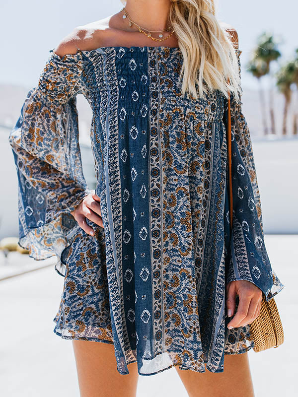 Off-the-shoulder Floral Long Sleeves Mini Dress
