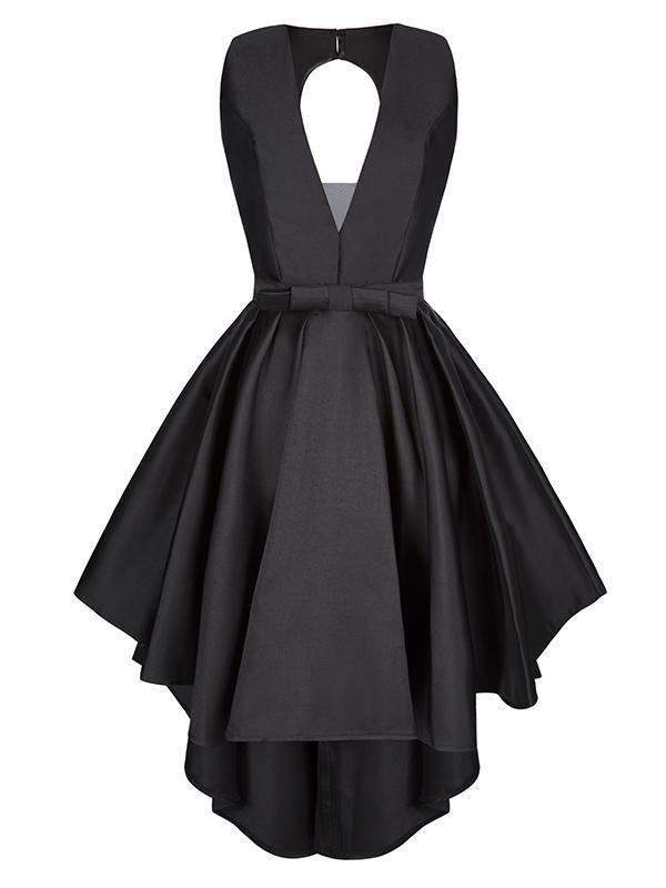 Asymmetric V-neck Sleeveless Mini Evening Dress