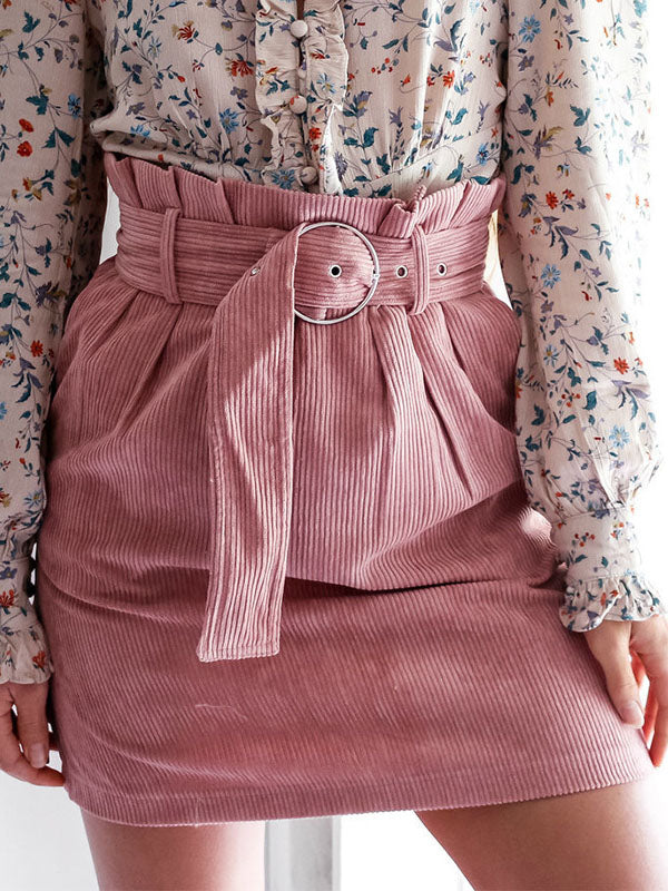 Solid Belted A-line Skirts Bottoms