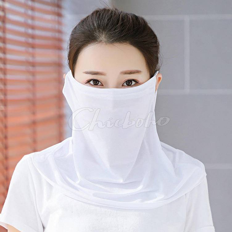 Solid Color Ice Silk Breathable Sunscreen Mask