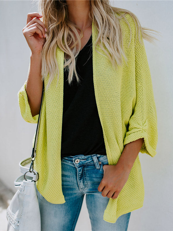 Fashion Knitting Solid Color Cardigan Tops