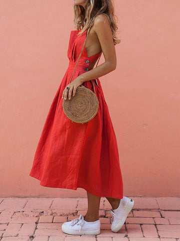 Backless Sleeveless Side Split Maxi Dresses