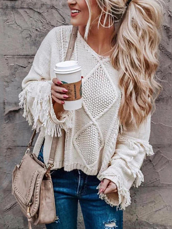 Solid Color V-neck Loose Sweater Tops