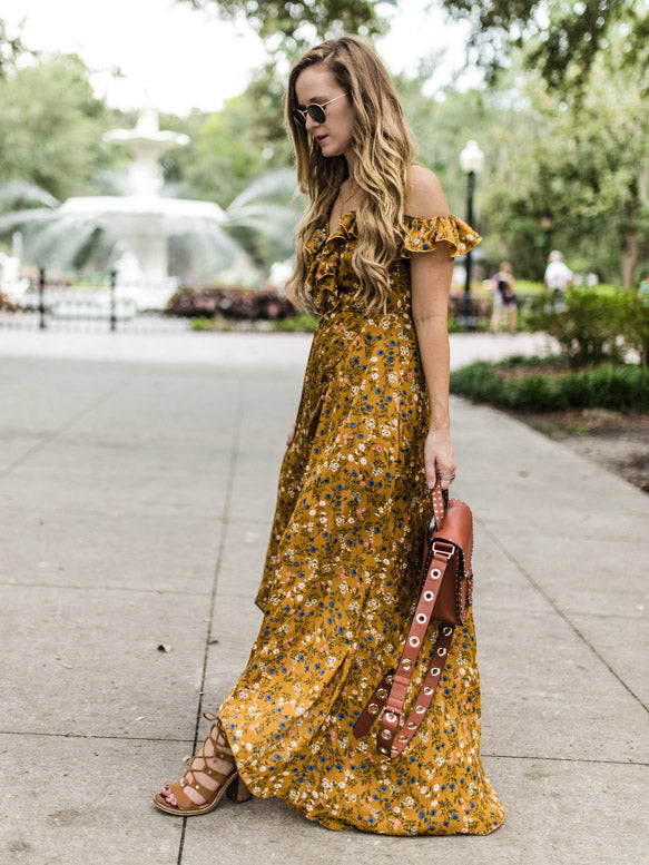 Spaghetti-neck Falbala Floral Maxi Dress