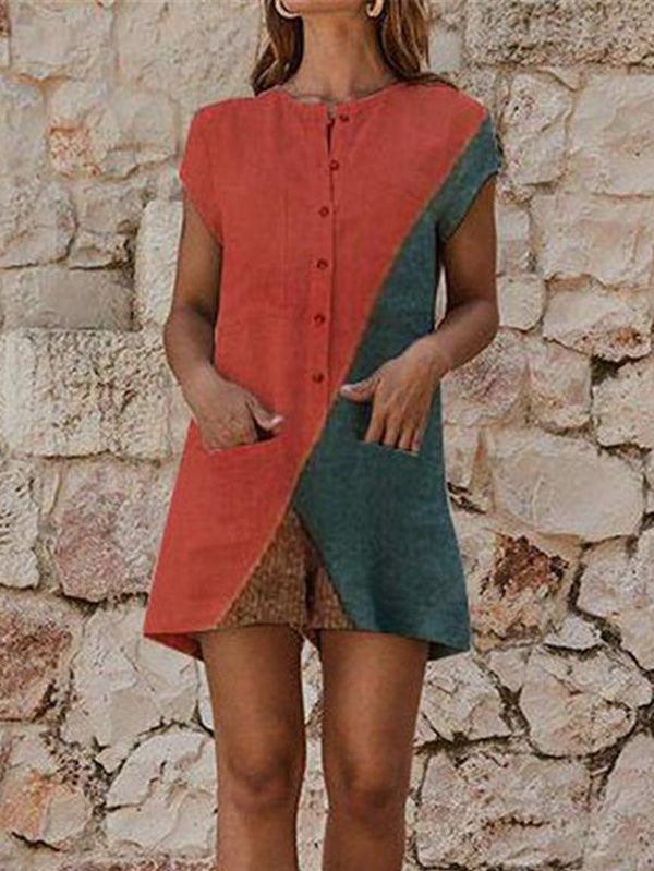 Color Block With Pocket Romper