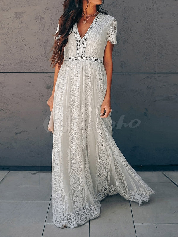 Stitching Lace Hook Flower V-neck Maxi Dress
