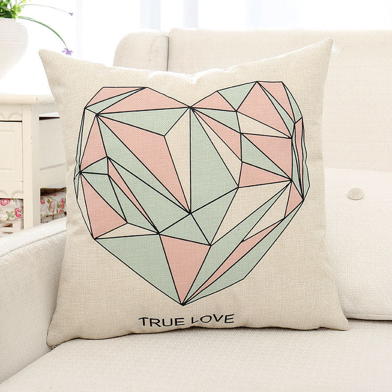 True Love Diamond Heart Printed Pillow Case