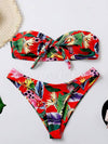 Abstract Printed Bandage Split Bikini Swimsuit