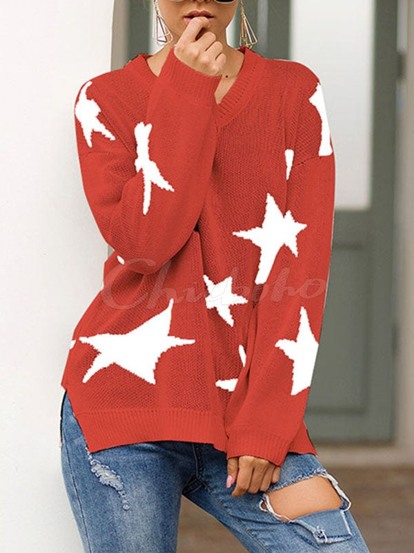Star Print Loose Knit V-neck Sweater