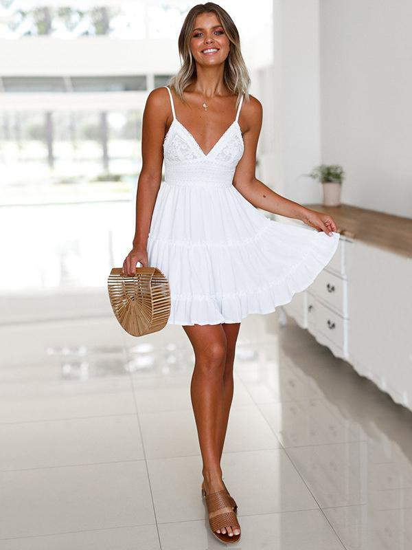 Spaghetti-neck V-neck Waisted Mini Dress