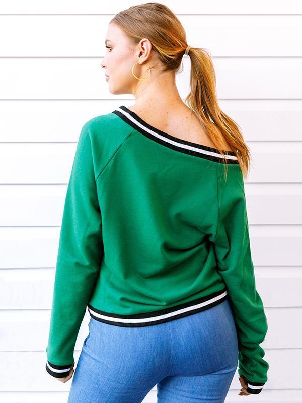 Fashion Knitting Green V-neck Sweater Tops