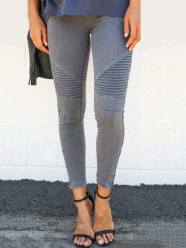 Solid Color Elastic Waist Casual Pants Bottoms