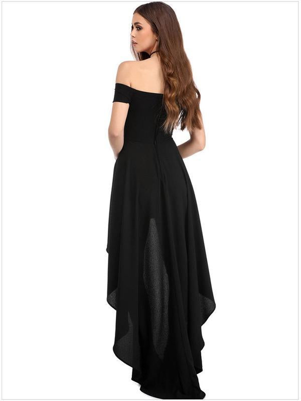 Asymmetric Solid Color Off-shoulder Maxi Dress