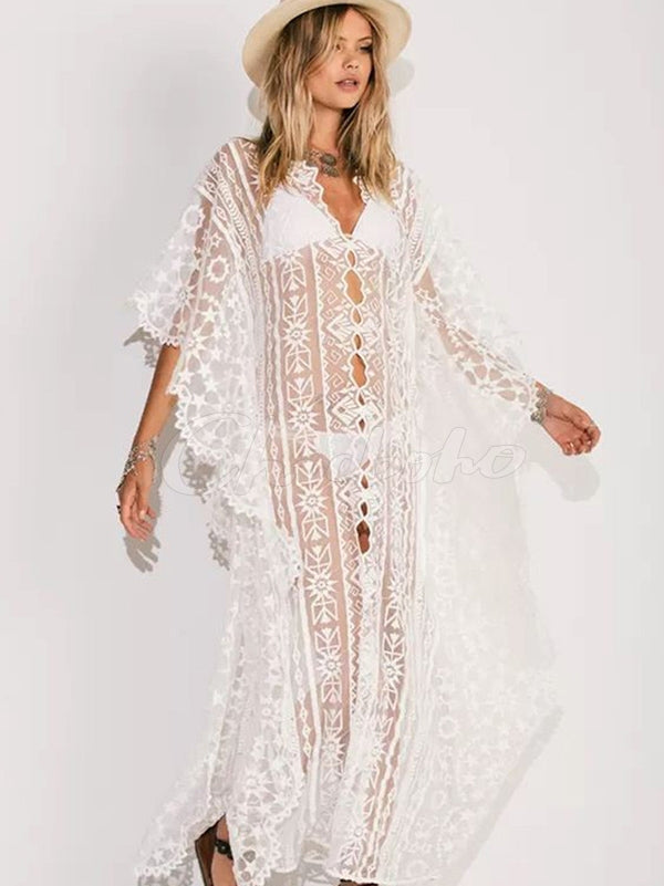 Loose Mesh Embroidered Bikini Cover-Up