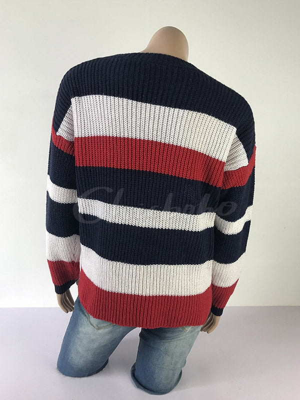 Loose Stripe Colorblock Sweater