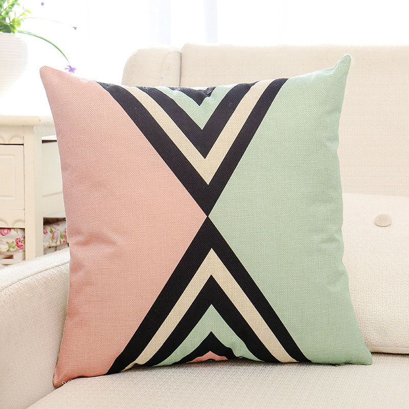 Green Geometric Printed Pillow Case