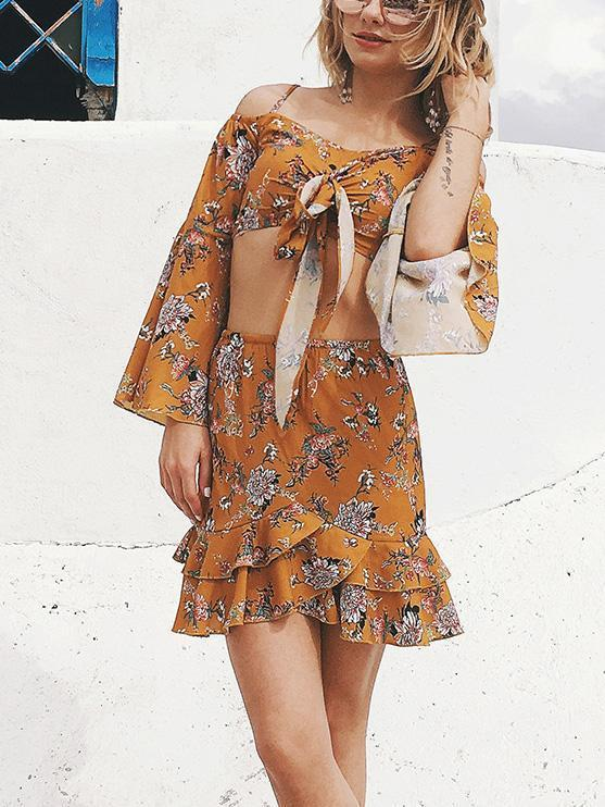 Floral Off Shoulder Flared Sleeves Tops And Skirt Bottoms