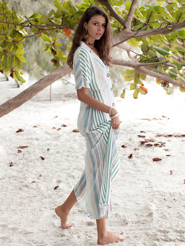 Fresh Striped Lapel Maxi Dresses