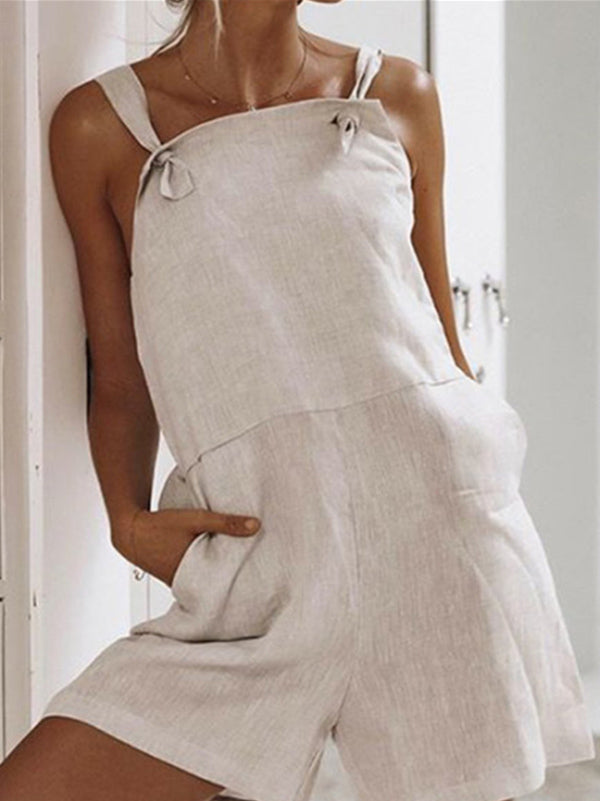 Casual Solid Ramie Cotton Rompers