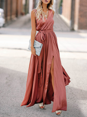 Asymmetric Spaghetti-neck Midi Dress