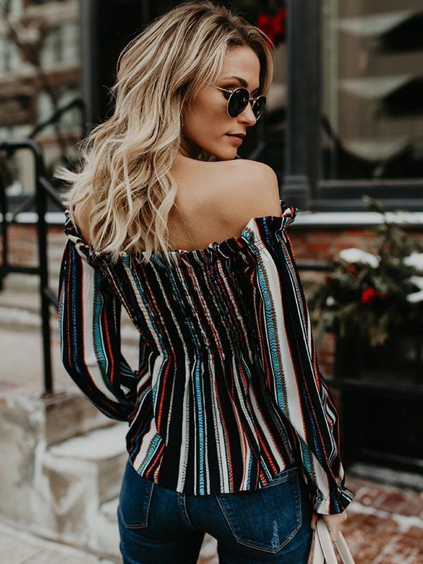 Colorful Stripes Blouses&Shirts Top