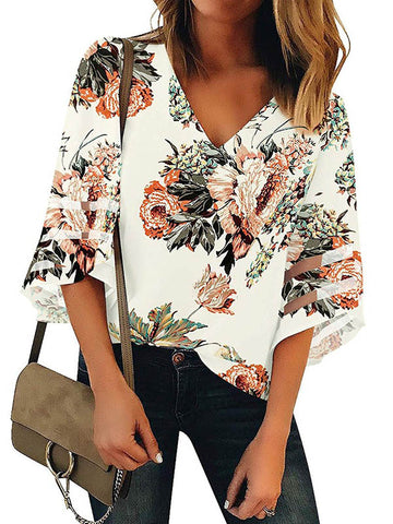 Printed V-neck Long Sleeve T-Shirt