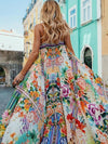 Fashion Popular Floral-Print Falbala Short Sleeve Deep V Neck Maxi Long Dress