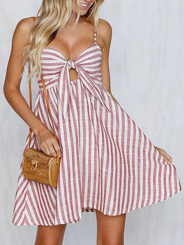 Striped Spaghetti-neck Bowknot Mini Dress