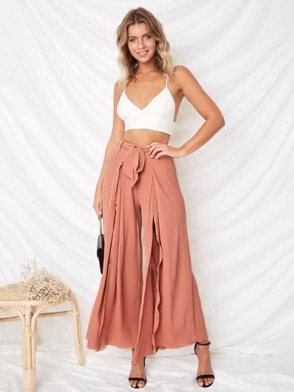 Solid Color Split Bandage Wide Leg Bottom Casual Pants