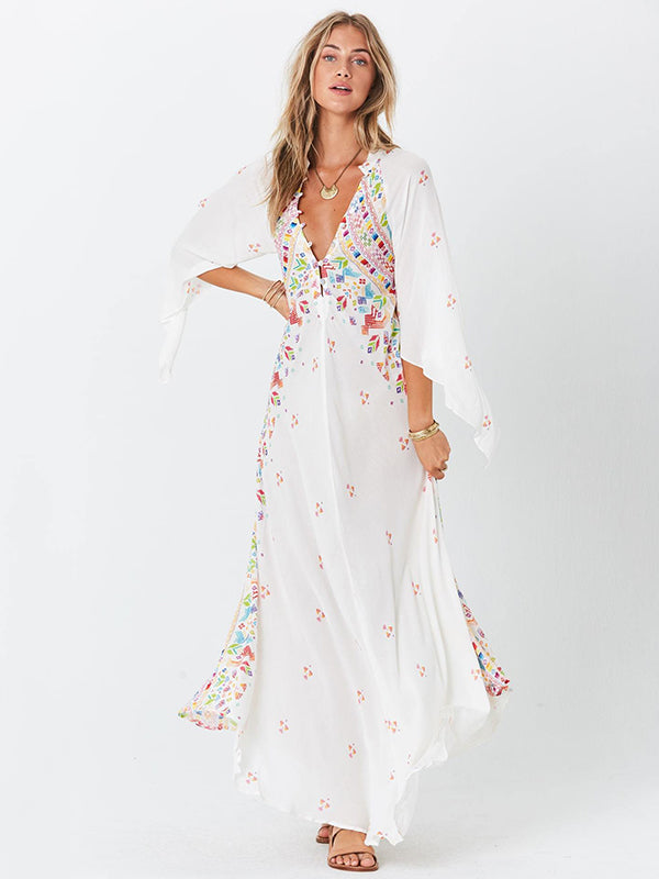 Bohemia 3/4 Sleeve V-Neck Floral Maxi Dress