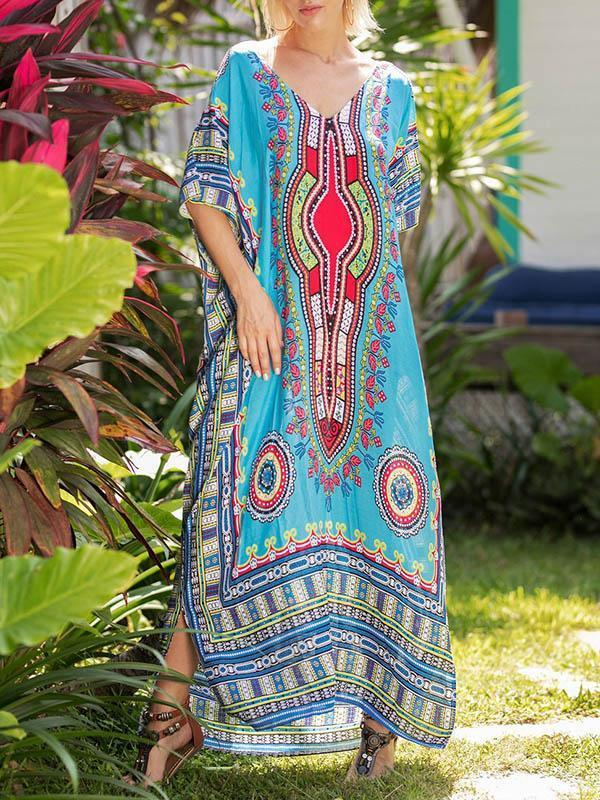 Elegant V-neckline Short Sleeves Maxi Print Bohemia Dress