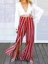 Striped Wide Leg Split Bottom Casual Pants