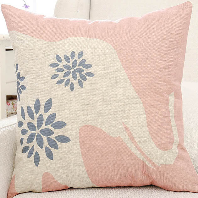 Pink Elephant & Flower Printed Cushion Pillow