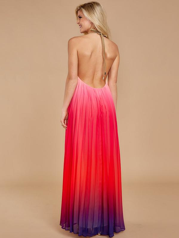 Backless Halterneck Gradient Maxi Dress