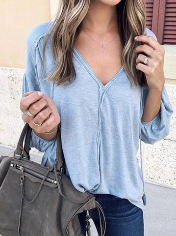 Popular Long Sleeves V-neck Blouses&shirts Tops