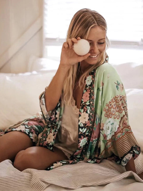 Bohemia Floral Long Sleeve Cover-Ups