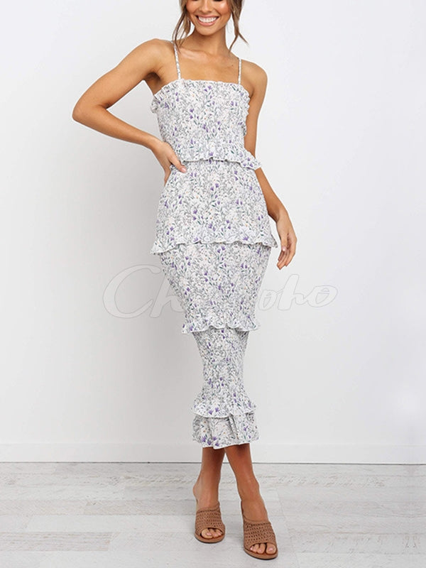 Spaghetti Strap Printed Midi Dress