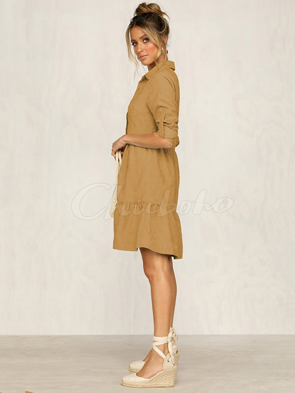 Single-breasted Large Swing Shirt Dress