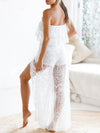 Beautiful Lace Off Shoulder Tops And Split-side Shorts Bottoms