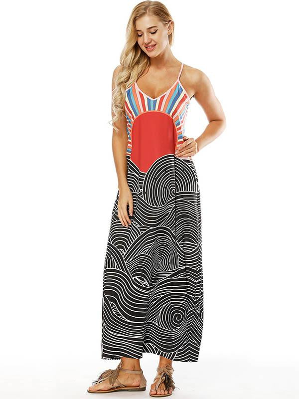 Printed Slim Fit V-neck Pockets Maxi Dress