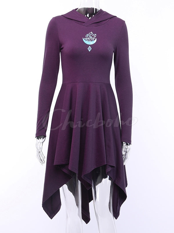 Asymmetric Long Sleeves Hooded Gothic Dress